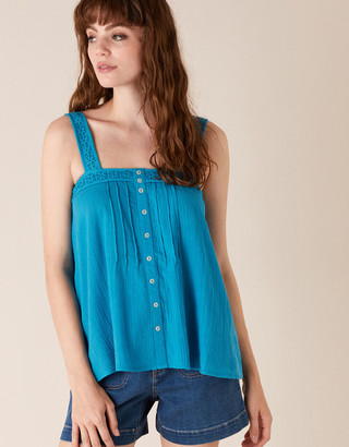 Under Armour Lace Trim Cami Top in Organic Cotton Teal