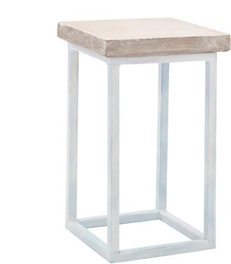 Mi Abode - Concrete Side Table with Raw Edges - White steel base - Grey/White/Black