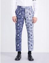 Thom Browne Jacquard slim-fit skinny cotton-blend trousers