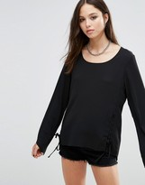 Brave Soul Flute Sleeve Top With Lace Tie Side