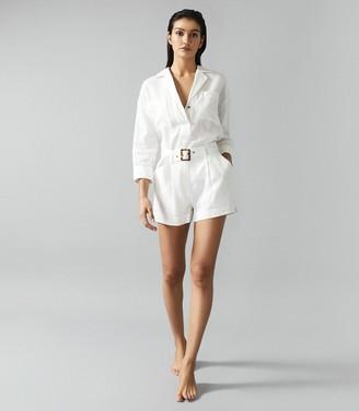 Reiss Loretta - Linen Overhead Beach Shirt in White