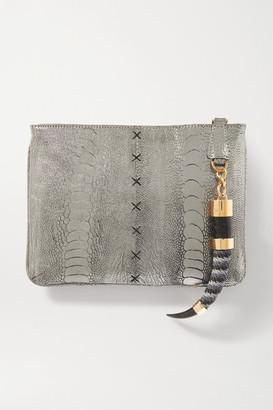OKAPI Embellished Metallic Ostrich Clutch - Silver