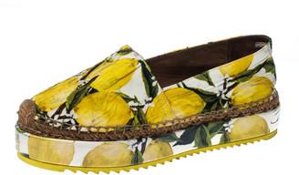 Dolce & Gabbana Yellow/Green Lemon Print Fabric Platform Espadrille Flats Size 38
