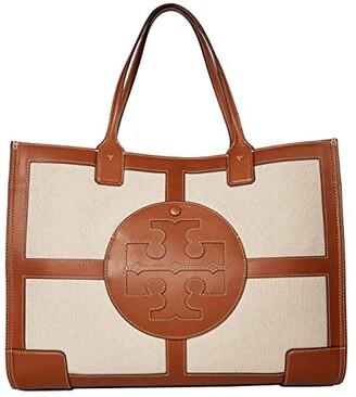 Tory Burch Ella Canvas Quadrant Tote (Classic Cuoio) Handbags