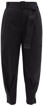 Proenza Schouler White Label Belted Cotton-blend Twill Trousers - Black
