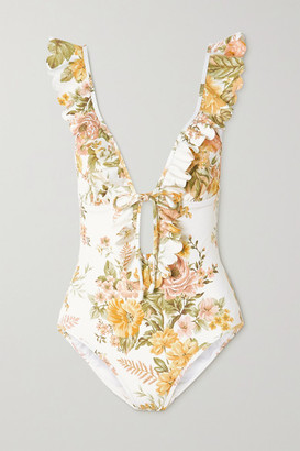 Zimmermann Amelie Ruffled Floral-print Swimsuit - Ivory
