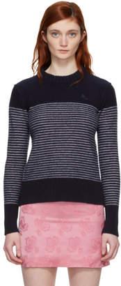 ALEXACHUNG Navy and White Reverse Stripe Sweater