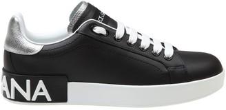 Dolce & Gabbana Portofino Sneakers In Black Nappa Calfskin