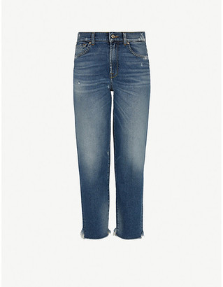 7 For All Mankind Malia straight high-rise stretch-denim jeans