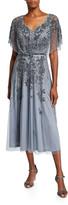 Theia Dolman-Sleeve Handed Beaded Midi Cocktail Dress