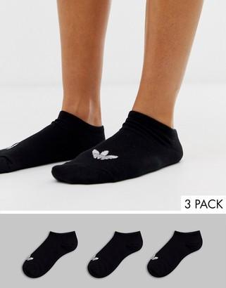 adidas 3 pack trefoil sneaker socks in black