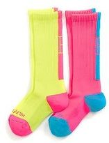 Tommy Hilfiger Big Girl's Neon Mid Calf Socks 2Pk