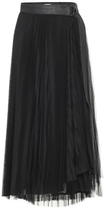 Brunello Cucinelli Leather-trimmed tulle skirt