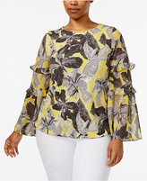 Alfani Plus Size Ruffle Bell-Sleeve Blouse, Only at Macy's