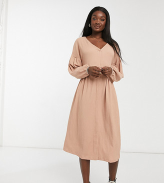 Asos Tall ASOS DESIGN Tall oversized textured shirt smock midi dress in mocha