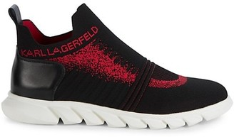 Karl Lagerfeld Paris Knit Leather Textile Slip-On Runners