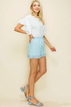 Glam Eyelet Ruffle Shorts