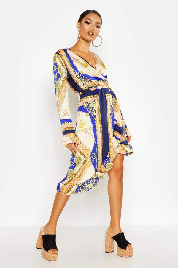 boohoo Chain Print Asymmetric Ruffle Hem Tea Dress