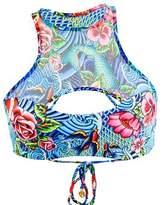 Luli Fama Multicolor Ink Mesh Inked Babe Reversible Bralette Swimsuit.