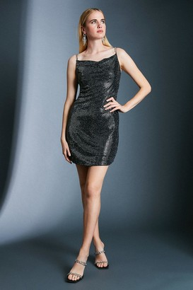 Karen Millen Chain Strap Sequin Jersey Dress