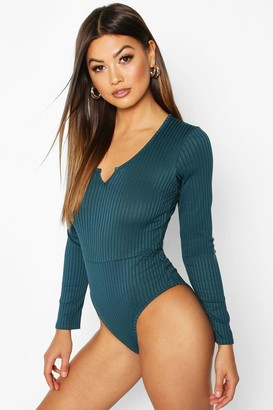 boohoo Notch Front Neck Jumbo Rib Long Sleeved Body