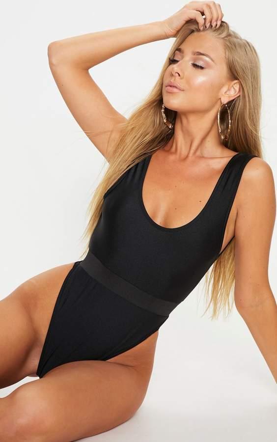 PrettyLittleThing Black Elastic Waist High Leg Swimsuit