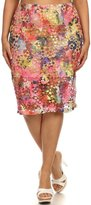 Vialumi Women's Juniors Plus Multicolor Dye Floral Crochet Midi Skirt Pink