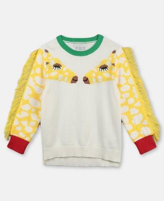 Stella Mccartney Kids Stella McCartney jumper with intarsia giraffe & fringe