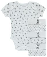 George 7 Pack Zebra Print Bodysuits
