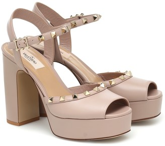 Valentino Rockstud leather platform sandals