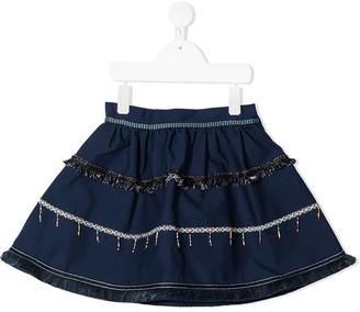 Stella Jean Kids fringe-trimmed A-line mini skirt