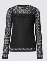 Marks and Spencer Beaded High Neck Lace Jersey Top