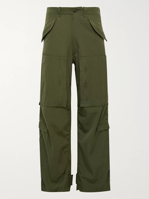 Beams Wide-Leg Wool-Twill Cargo Trousers - Men - Green