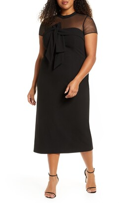 JS Collections Bow Illusion Mesh Cocktail Dress