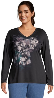 Just My Size Cool Dri Long Sleeve Graphic V-Neck Shirt