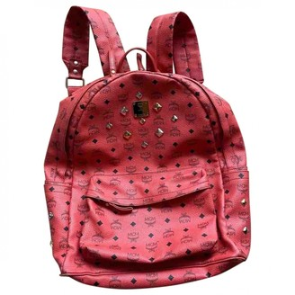 MCM Stark Red Leather Backpacks