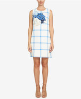 CeCe Plaid Floral-Print Shift Dress