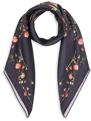 Burberry Rose Print Silk Square Scarf