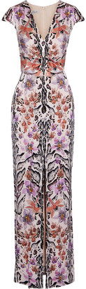Temperley London Safari Split-front Printed Hammered Silk-satin Gown