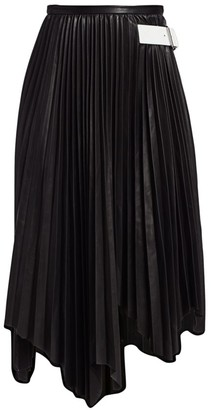 Helmut Lang Leather Pleated Skirt