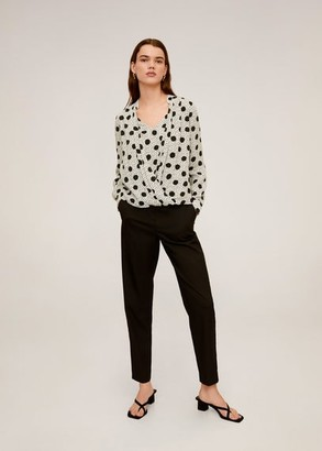 MANGO Polka-dot flowy blouse off white - 2 - Women