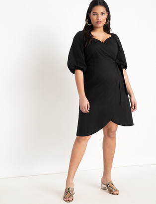ELOQUII Optional Off-the-Shoulder Wrap Dress