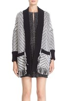 Burberry Brit Glasshouse Fringed Wool Sweater Jacket
