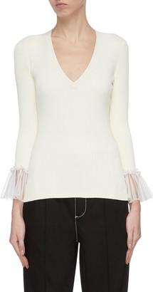 Alexander McQueen Lace cuff V neck knit top