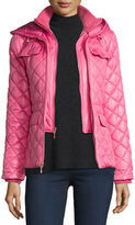 Kate Spade Packable Quilted Short Coat W/ Bow Detail