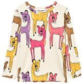 Mini Rodini Pink Deer Print Long Sleeve Tee