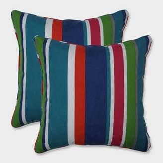 """Modern Outdoor Pillow Perfect 18.5"""" 2pk St. Lucia Stripe Throw Pillows Blue"""