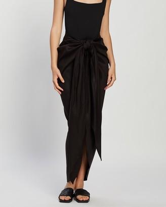 BONDI BORN Tie Front Draped Skirt