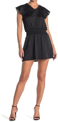 Luna Chix V-Neck Smocked Waist Satin Mini Dress