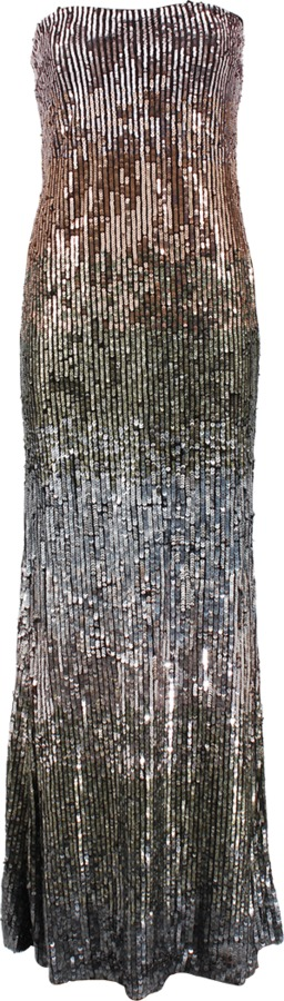 Nicole Miller Strapless Ombre Sequin Gown